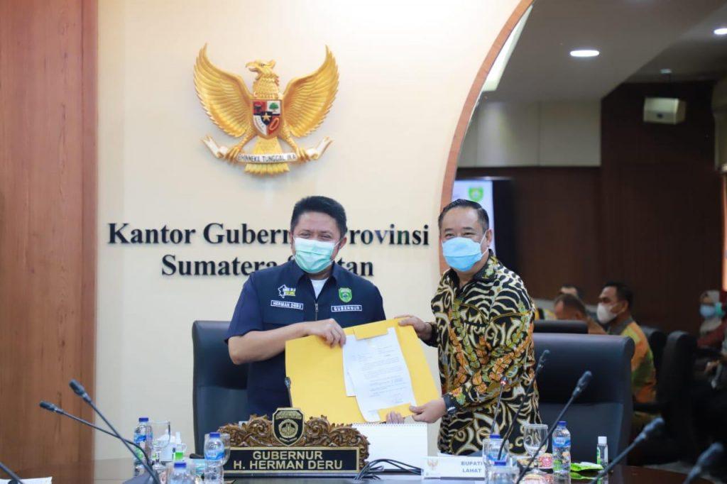Herman Deru Terima Draft Usulan Pembangunan Infrastruktur Kabupaten Lahat Tahun 2021