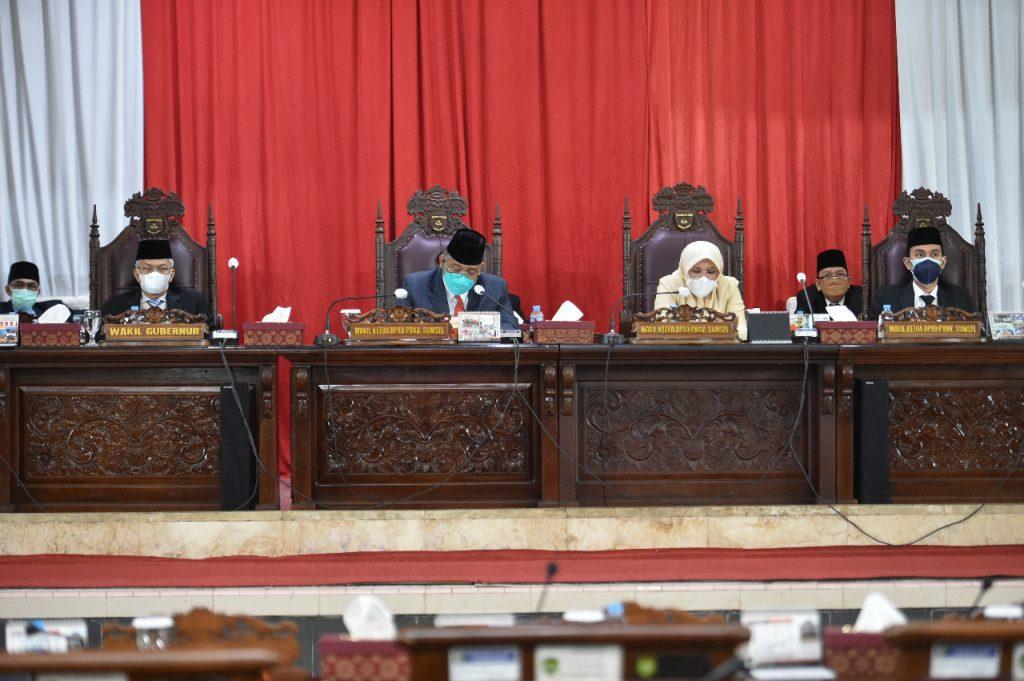 Fraksi – Fraksi DPRD Prov. Sumsel Sampaikan pemandangan umum terhadap Raperda Perubahan APBD TA 2021